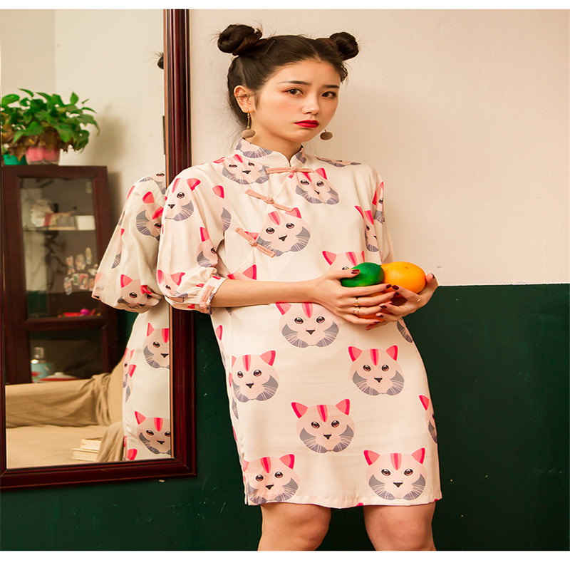 Three Quarter Sleeve Cute Cat Print Chiffon Cheongsam Women Dress 2019 New Fashion Modified Casual Loose Dress for Female