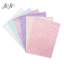 JOJO BOWS 22*30cm 8pcs Solid Candy Glitter Fabric For Craft Faux PU Sheet Needlework Shoe Bag Decor DIY Hair Bows Material