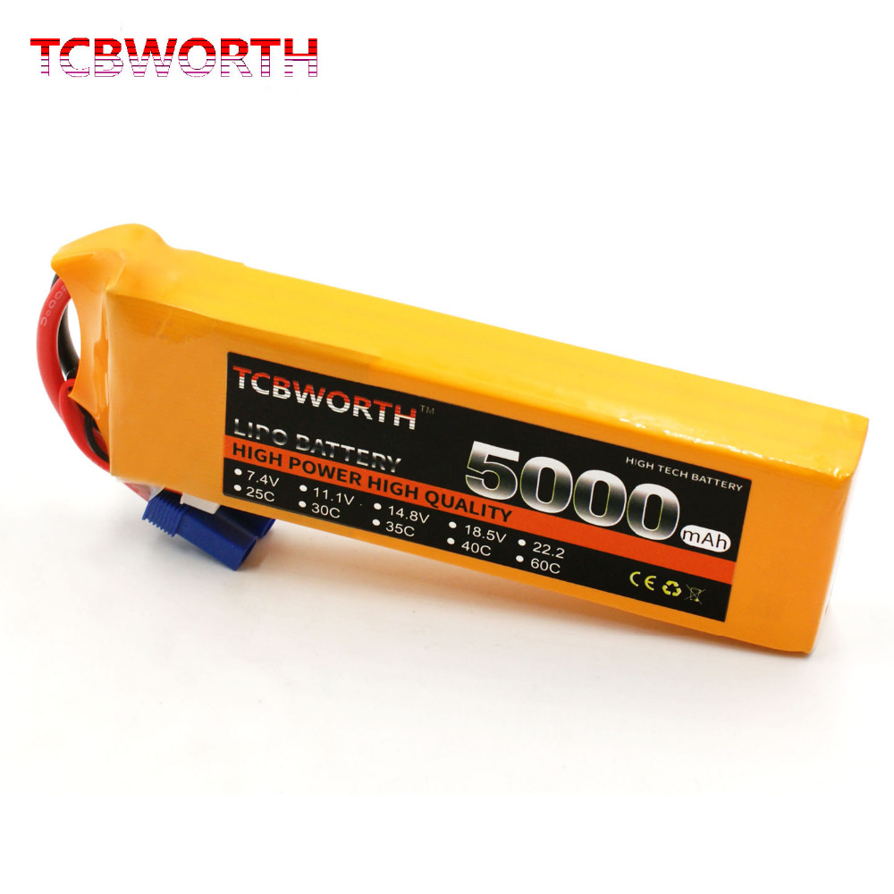 TCBWORTH RC Quadrotor LiPo battery 3S 11.1V 5000mAh 40-80C For RC Airplane Helicopter AKKU Drone Car Truck Li-ion battery 1s 2s 3s 4s 5s 6s 7s 8s lipo battery balance connector for rc model battery esc
