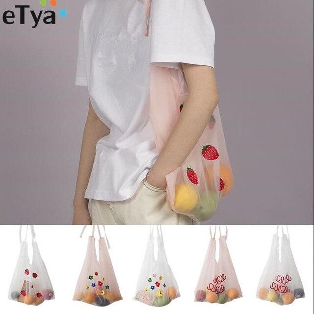 1 PCS eTya 2019 Novo Saco de Compras Reutilizável Dobrável Eco Sacolas Mulheres Menina Bordado Eco Mercearia Shopper Bag bolsa de Ombro saco