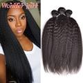 8A Cabelo Virgem Malaio Kinky Em Linha Reta Cabelo Weave 3 Bundles Top Grosso Yaki do cabelo Humano Feixes de Cabelo Malaio Kinky Em Linha Reta