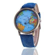 Reloj de manera Mujeres Plano Global World Map Reloj de Pulsera Banda de Tela de Mezclilla Casual Femenino Reloj de Cuarzo Reloj Relogio Feminino 1553