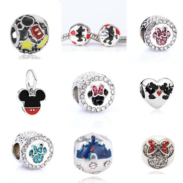 2018 Mickey y Minnie Encantos Europeos Cabida Los Granos Originales Pulseras y Collares DIY Accesorios Preciosos Regalos de la VENTA CALIENTE