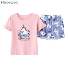Summer Cotton Sleepwear Women Unicornio Cute Unicorn Pajamas Female Home Clothes For Women Shorts Suits Clothes