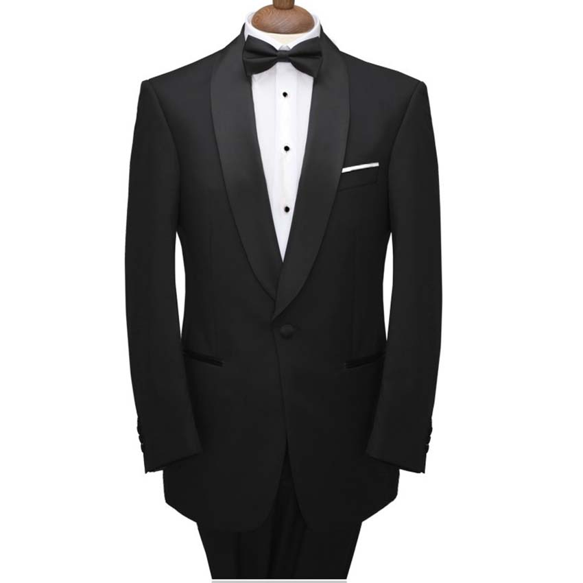 Black Wedding Tuxedo Suit With Black Satin Shawl Lapel For Groomsmen,Custom Made Wedding Tuxedos For Men Groomsmen Suit 2019