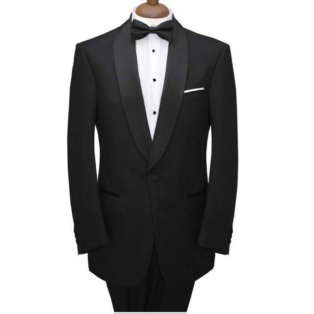 Black Wedding Tuxedo Suit With Black Satin Shawl Lapel For Groomsmen ...