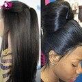 4x4 Sem Cola Top De Seda Perucas Cheias Do Laço Luz Yaki Brasileiro Virgem cabelo Cheia Do Laço Perucas de Cabelo Humano Yaki Em Linha Reta Para As Mulheres Negras