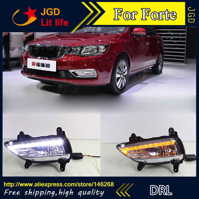 цена на Free shipping ! 12V 6000k LED DRL Daytime running light for KIA Forte 2014 fog lamp frame Fog light