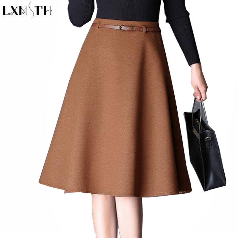 ec7c822cea LXMSTH New 2017 Autumn Winter Wool Skirts Women Plus Size Temperament Thin  A Line Woolen Skirt Elegant Midi Skirt High Waist 4XL