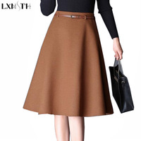 LXMSTH New 2017 Autumn Winter Wool Skirts Women Plus Size Temperament Thin A Line Woolen Skirt