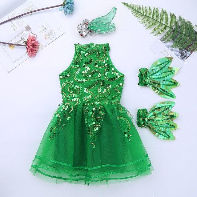 Kids Girls Sleeveless Green Shiny Sequins Stage Performance Jazz Dance Costume Children Girls Ballet Tutu Mesh Dress Set 2