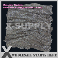 P1 2mm Metal Rhinestone Fabric Mesh Sheet in BLACK Metal Base Without Iron On Glue,Used For Bridal Dress,Bra(5 Lots Get 15% Off)