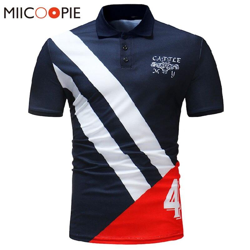2018 Novos Homens Marca de Moda Polo Camisa Casual Patchwork Camisa Pólo Masculino Dos Homens Camisa de Algodão de Manga Curta Camisas Camisas Pólo