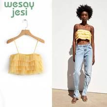 2019 new Women Tops Fashion Summer Vest Sexy yellow Spaghetti Strap tops plus size