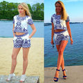 Mother's Day Gift Women Clothing Set Retro Blue White Porcelain Pattern Crop Top and Shorts 2 Pieces Set Summer Casual Women Set