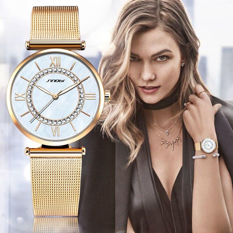 SINOBI Golden Elegant Women s Watches Ladies Fashion Wristwatch Rhinestone Waterproof Female Bracelet Clock Relogio Feminino