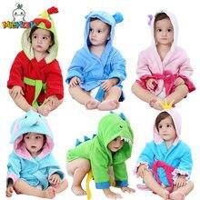 Модные детские халаты с капюшоном и рисунками животных детский