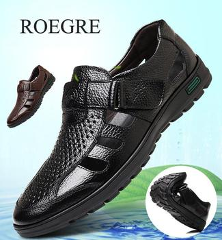 2019 Men Sandals Genuine Leather Cowhide Male Summer Shoes Outdoor Beach Slippers Business Casual Sandals Roman Shoes 38-48