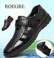 2019 Erkekler Sandalet Hakiki Deri Inek Derisi Erkek Yaz Ayakkabı Açık plaj terlikleri Iş Rahat Sandalet Roma Ayakkabı 38-48