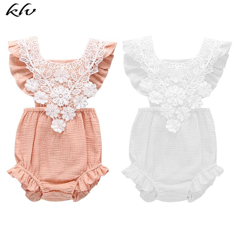 New Baby Infant Jumpsuit Sleeveless Lace Romper Summer Solid Color Openwork Flowers Style Coverall Crawling Clothing