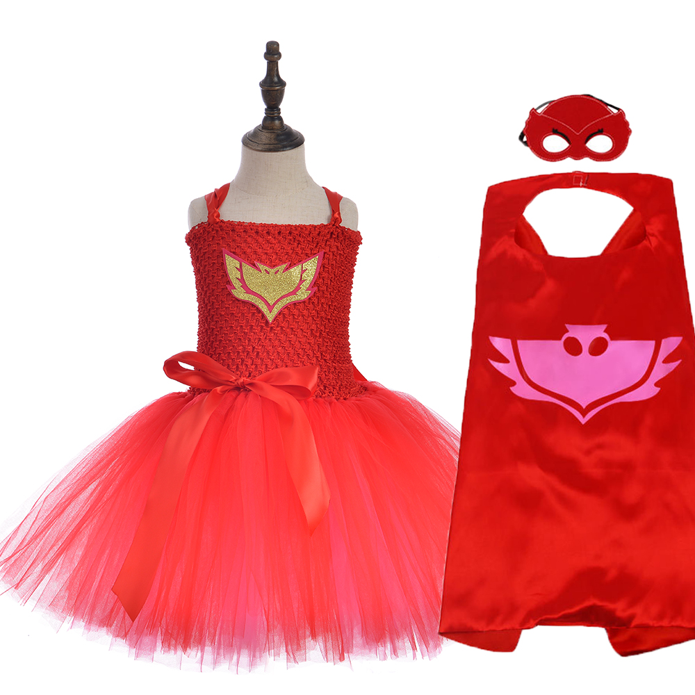 "Evening tutu dress patterned ""super hero Owl"" for girls, set with hats, Children's Halloween costume, Thanksgiving"
