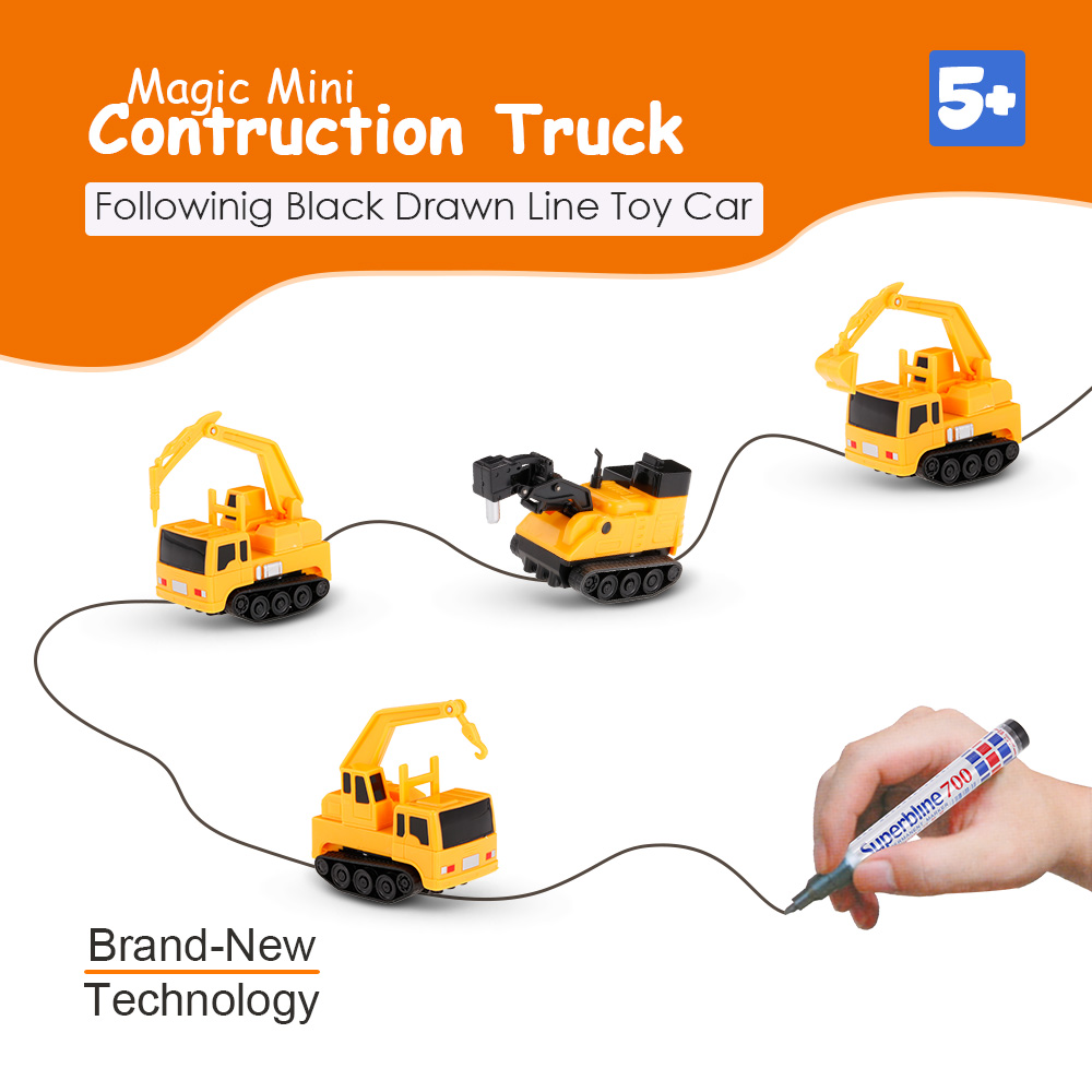 Inductive Car Diecast Vehicle Magic Pen Toy Contruction Follow Any Drawn Line Mini Engineering Vehicles Educational Kids Toy