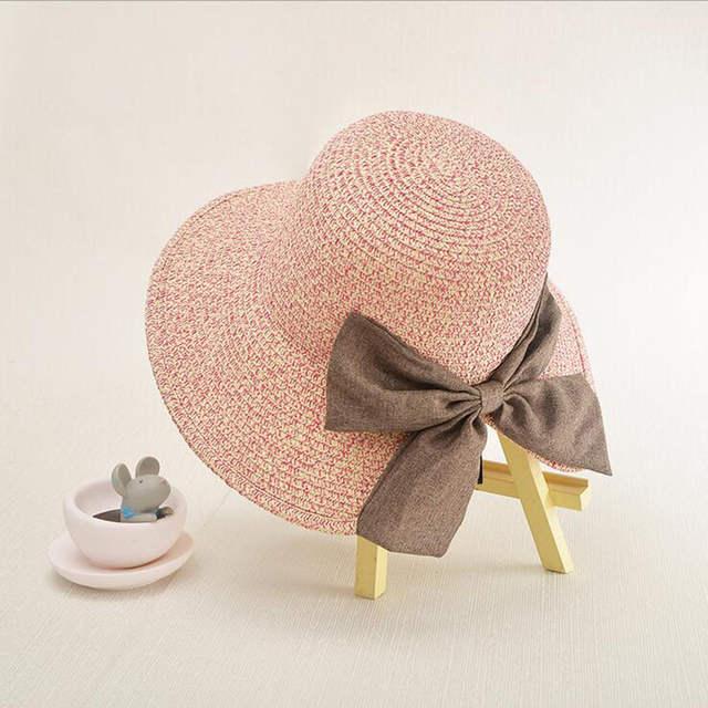 216ff86ac07 Online Shop Women s Sun Hat Big Bow Wide Brim Floppy Summer Hats For Women  Beach Panama Straw Bucket Hat Sun Protection Visor Femme Cap