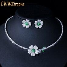 CWWZircons Brand Elegant Micro Pave Green CZ Zirconia Stone Flower Choker Necklace Earring Fashion Jewelry Sets For Women T091