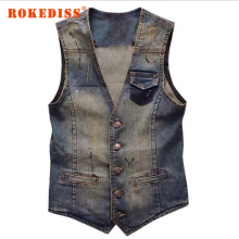 Vintage Design Men's Denim Vest Male Fashion Sleeveless Jackets Man Jeans Brand Clothing Men Denim Waistcoat  3XL G270