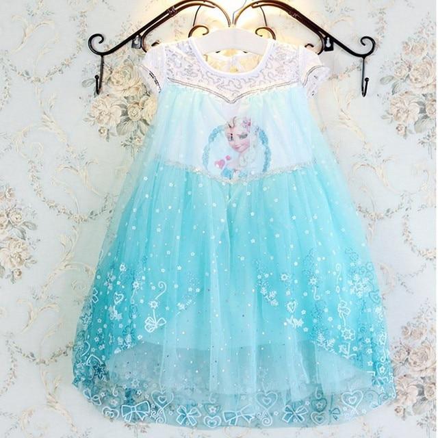 Fashion carnival costume children kids child deguisement princessa elsa anna snow queen dress bebe fille 10 12 years old