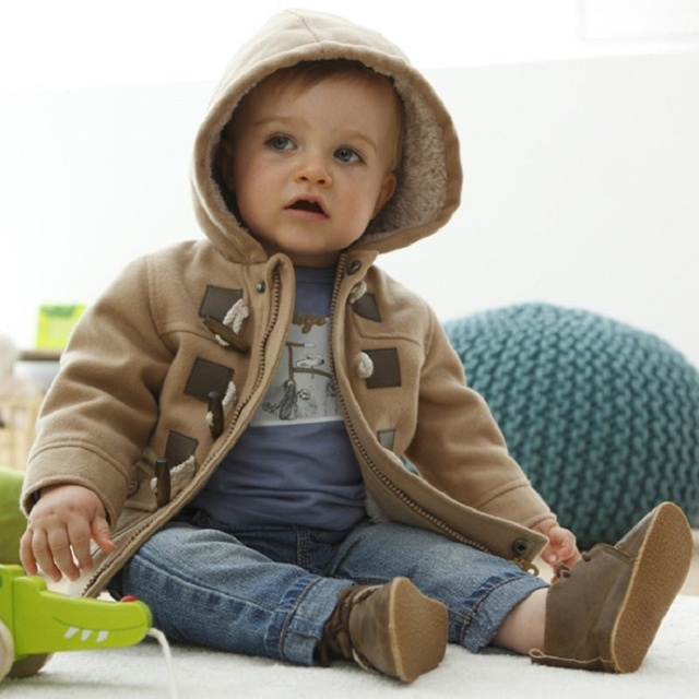 Baby Boys Winter Coat Boys Hooded Blends Jacket Children's Wool Blends Outwear Clothing Grey Yellow Roupa De Bebe