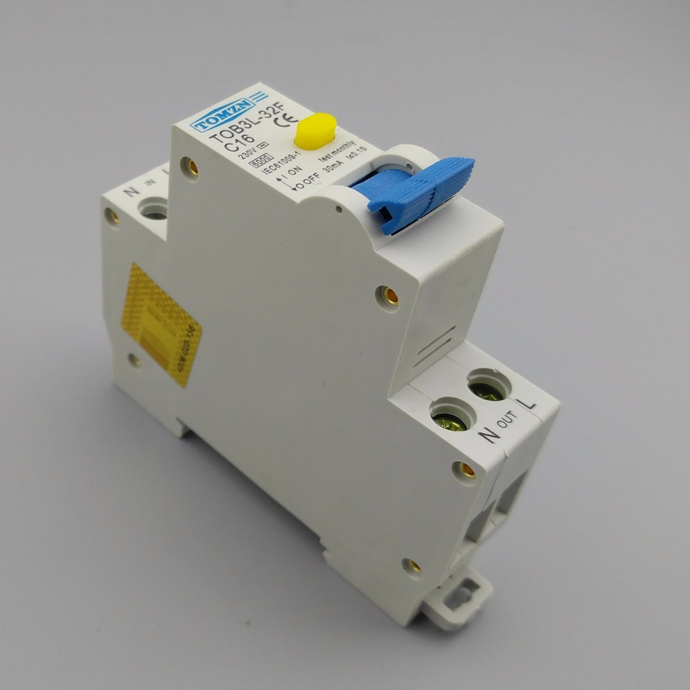Marvelous 18MM RCBO 16A 1P+N 6KA Residual Current Differential Automatic Circuit  Breaker With Over Current