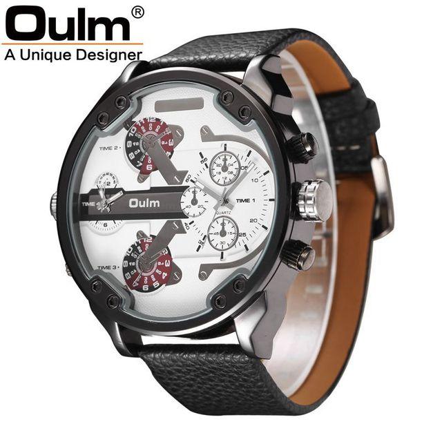 Homens da forma do Relógio Multi Números Movt Tiras Horas Marcas Big Dial Couro Banda Men Quartz Militar relógio de Pulso Relogio masculino