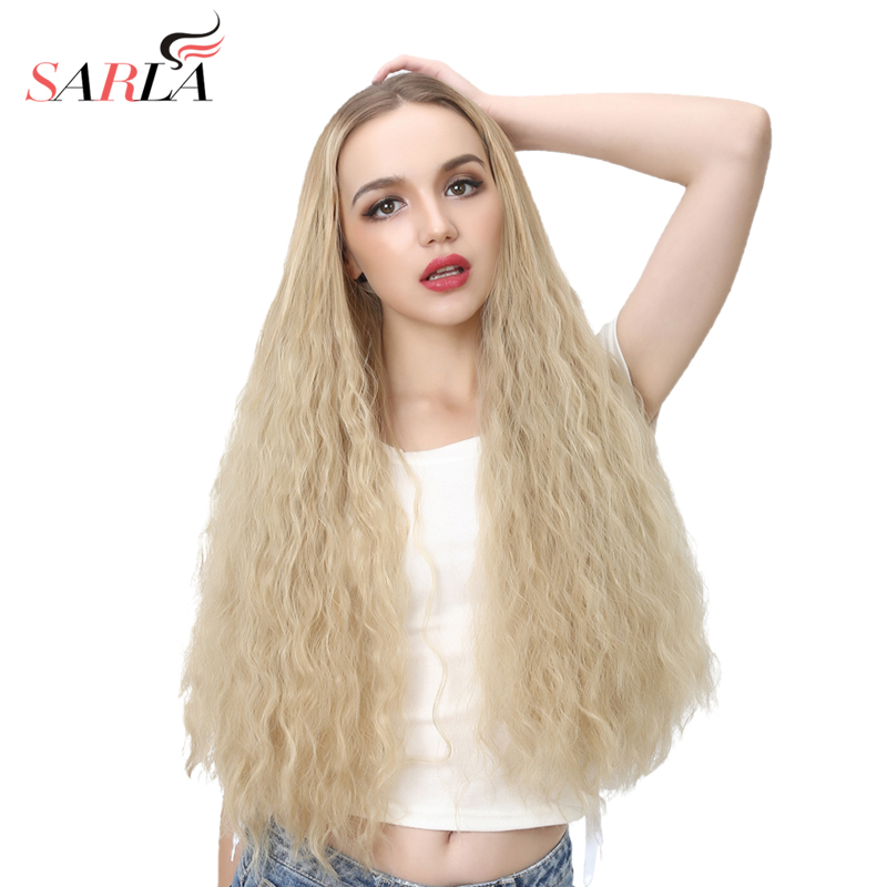 SARLA 26 Long Kinky Curly Blonde U Part Wig Synthetic Wigs Female Full Head Clip in Hair Extensions One Piece Cosplay Wig WU07