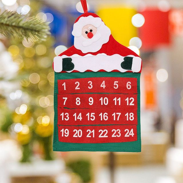 1 Pcs New Arrival Father Christmas Advent Calendar Countdown Xmas Decor Fabric Pockets For