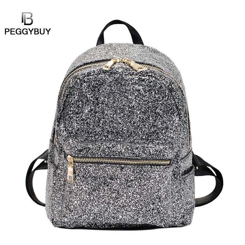 PB Small Shining Backpack Women Bright Sequin Shoulder Bag Mini Travel Daypack Leather Casual Bagpack Ladies Fashion Satchel 2017 small fresh mini shoulder bag with three pairs of ears can replace the small backpack cute modeling trend backpack y088