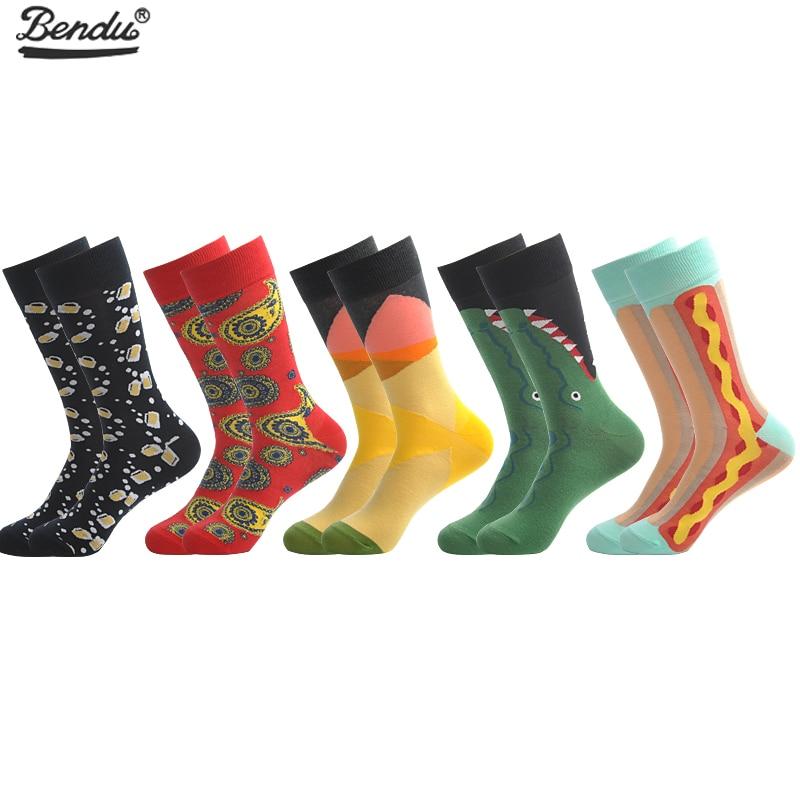 BENDU 5 Pairs/Lot Mens Socks Fashion Funny Colorful Long Socks Combed Cotton Happy Wedding Socks Casual Business Dress Sock
