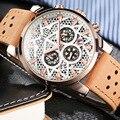 OCHSTIN Brand New Fashion Casual Man Male Chronograph Clock Military Army Sport Leater Strap Luxury Wrist Quartz Watch GQ067B