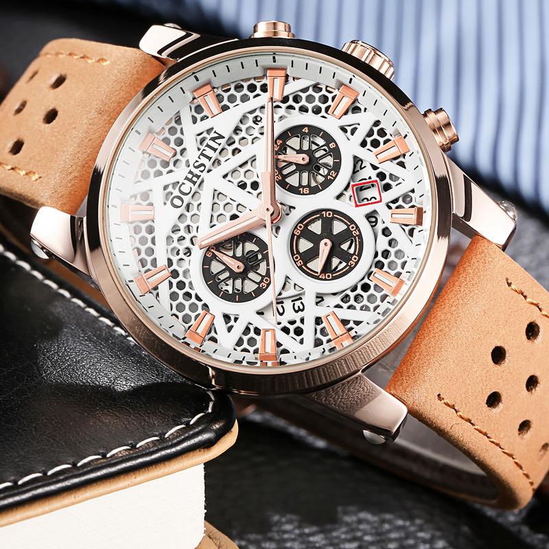 Prix pour Ochstin marque nouvelle mode casual homme mâle chronographe horloge militaire armée sport leater sangle de luxe poignet quartz montre gq067b