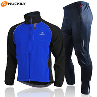 NUCKILY Winter Cycling Fleece Waterproof Windproof Sport Jacket Ropa Ciclismo MTB Road Riding Bike Bicycle Cycling Jersey Sets
