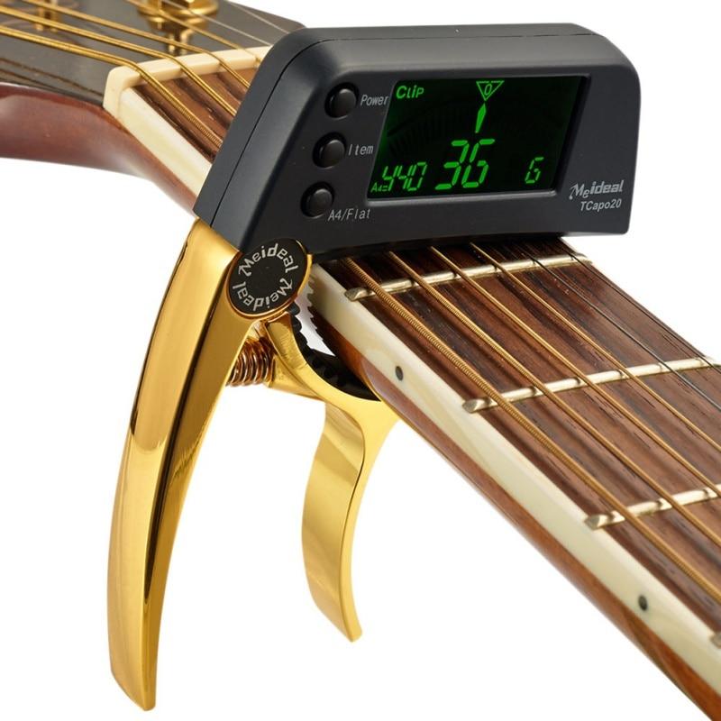 Multifonctionnel LCD Électronique Guitare Capo Tuner 2 en 1 guitare capo électronique tuner pour Guitare Basse