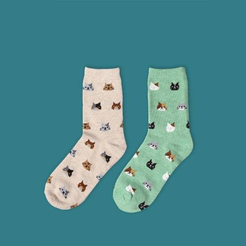 2018 new women   socks   1 pair long cotton color cute animal cats novelty autumn women fashion funny lady fashion   socks