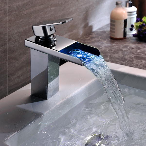 Bathroom taps with led lights my web value led waterfall bathroom faucet light color change temperature sensor handles basin mixer water aloadofball Images