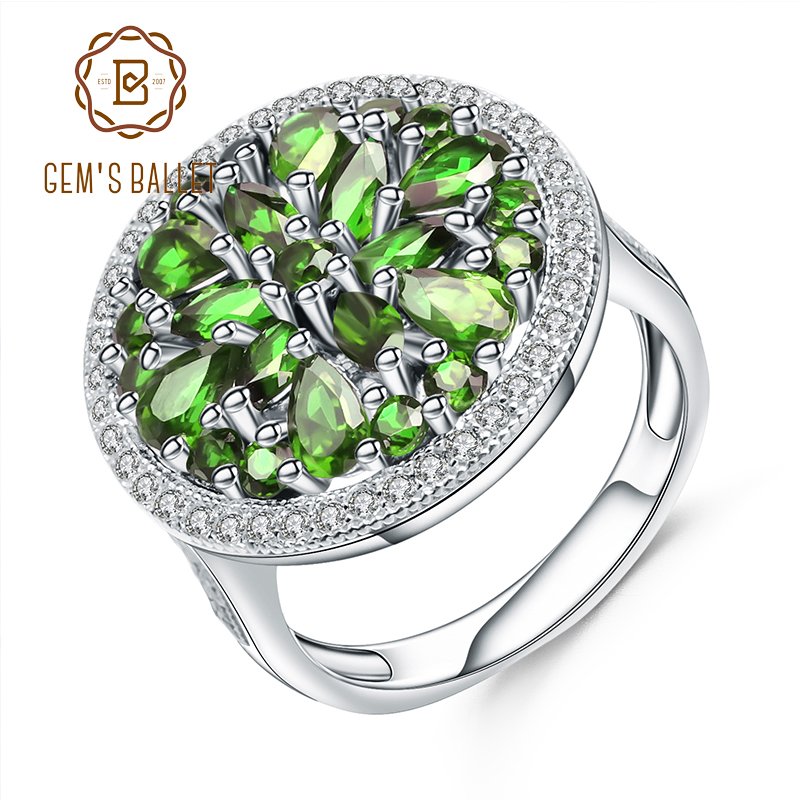 GEM'S BALLET 3.50Ct Natural Chrome Diopside Gemstone Ring 925 Sterling Silver Vintage Cocktail Rings for Women Fine Jewelry