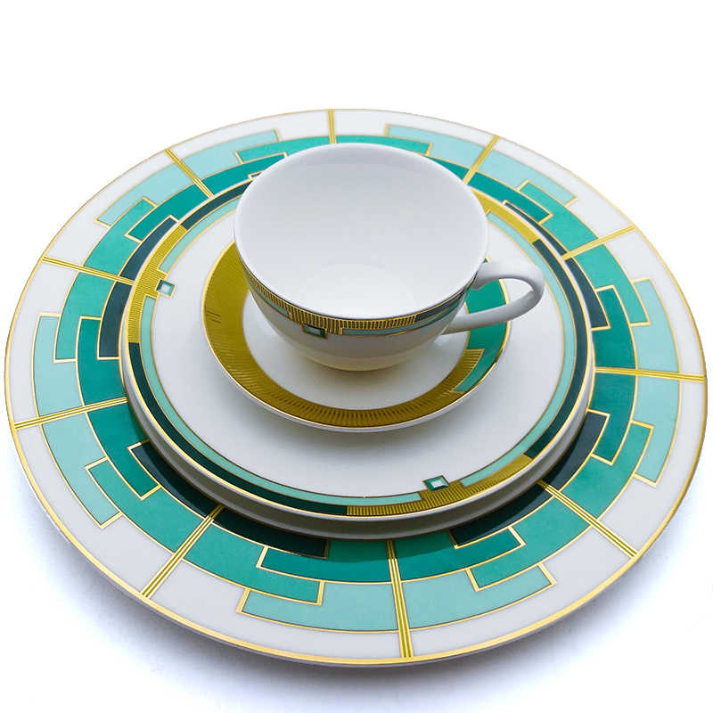Bone China Dinnerware Set Green Checkered Ceramics Steak Dinner Plates Set With Coffee Mug Full Set Tableware 11inch Flat Plate