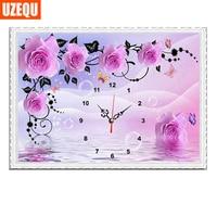 UzeQu 60 40cm Wall Clock Diamond Painting Cross Stitch Rose Mosaic Diamond Rhinestone Watch Full Round