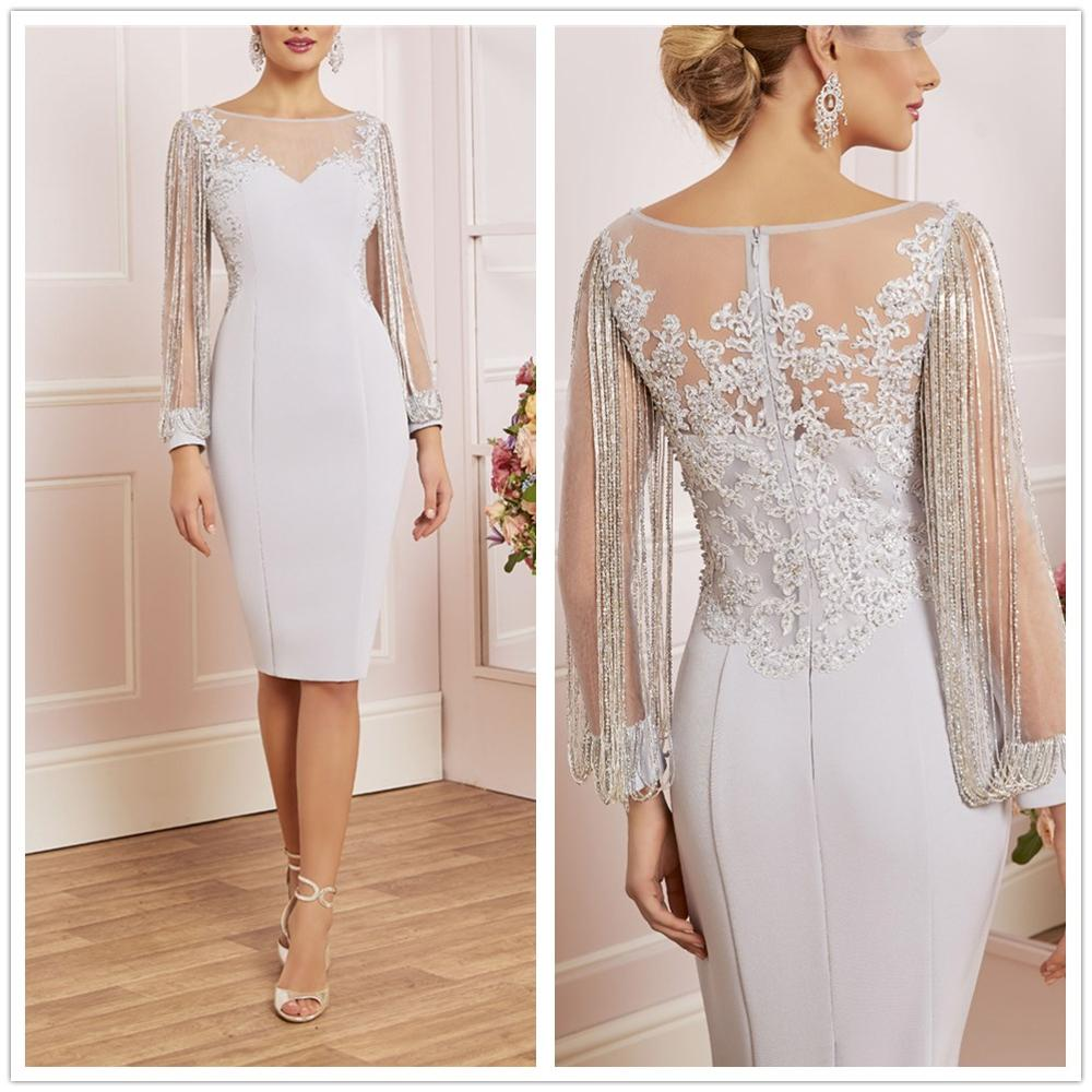 New Arrival! Excellent Long Sleeves Beading Illusion Knee-Length Short Sheath Silver Dinner Gown Mother Of The Bride Dresses