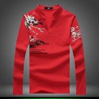 Men Korean Harajuku Brand Fashion Summer Stylish Print T Shirt Stand Collar Street Clothing Red Top