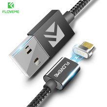 FLOVEME Magnetic Micro USB Cable 2.4A Charge 1M LED Magnet Charger Cable For Xiaomi 4X Huawei P8 Lite Samsung Nylon Braided Cabo