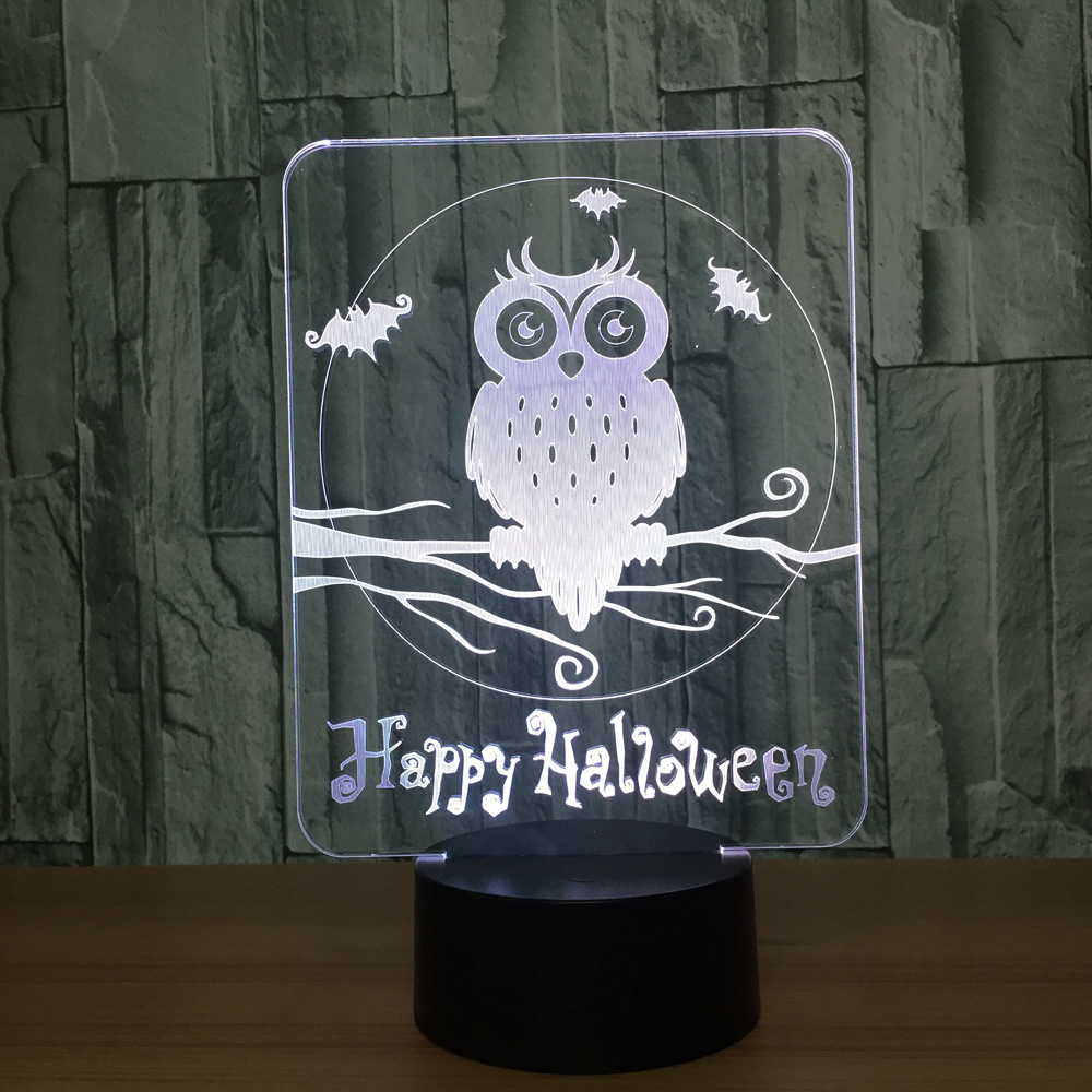 The Owl 3D Night Light Halloween Atmosphere Lamp 3D Bulbing Light Remote Touch Swithc Colorful Desk Table Lamp